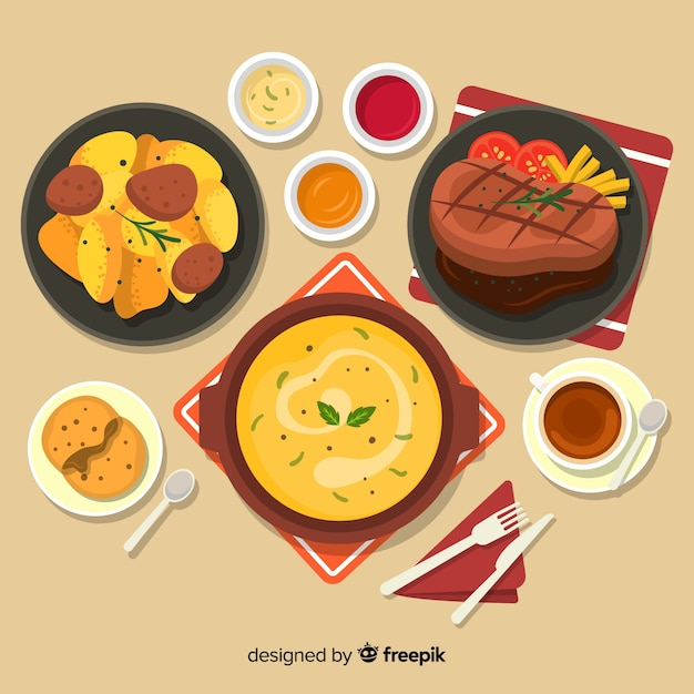 Collection de plats de déjeuner Vecteur gratuit