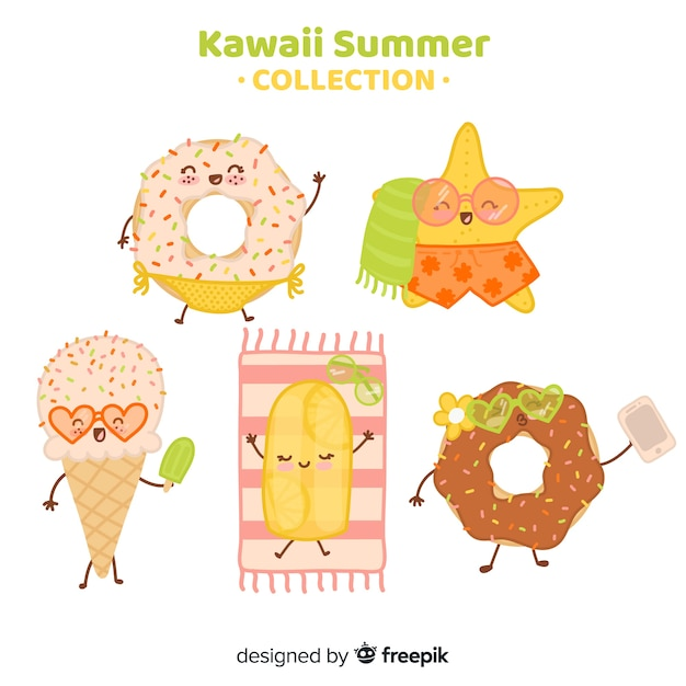 Collection De Plats D'été Kawaii Plat Vecteur gratuit