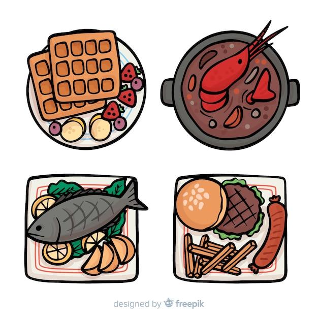 Collection de plats de nourriture dessinés à la main Vecteur gratuit