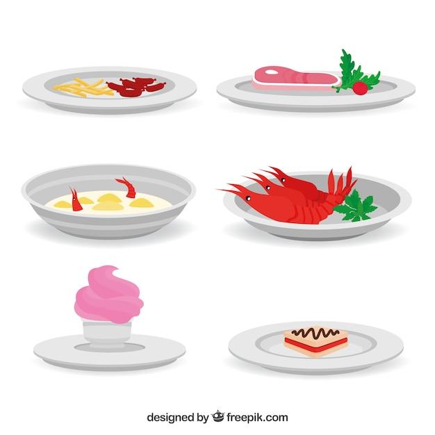 Collection de plats avec de la nourriture différente Vecteur gratuit