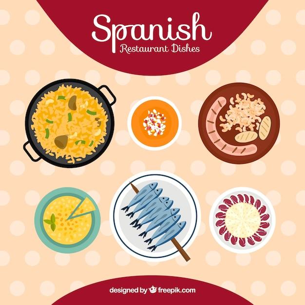 Collection de plats typiquement espagnols Vecteur gratuit