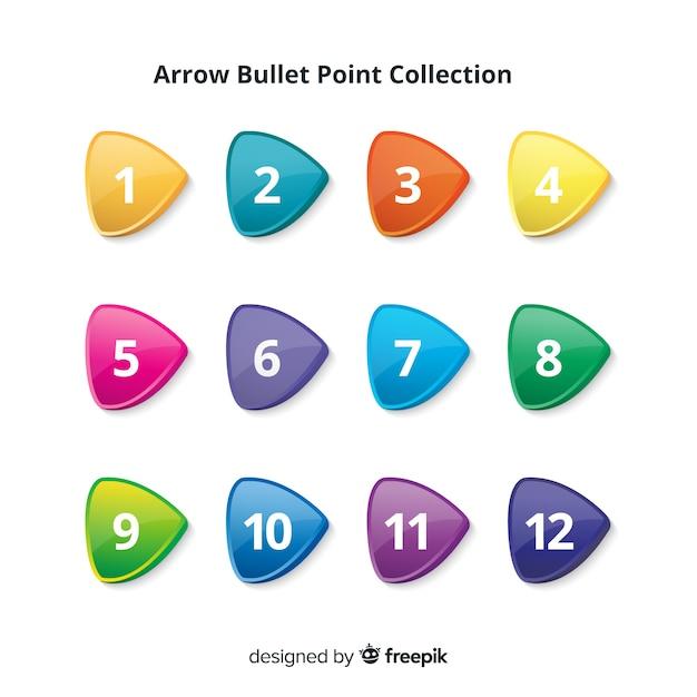 Collection de point de balle flèche plate Vecteur gratuit
