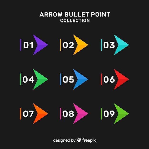 Collection de point de flèche colorée Vecteur gratuit