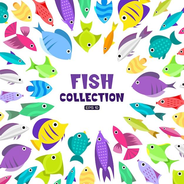 Collection de poissons. style de bande dessinée. illustration de différents poissons Vecteur gratuit