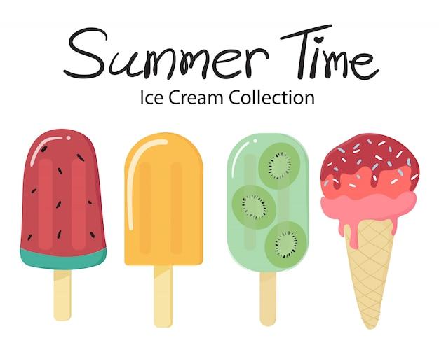 Collection de popsicle de crème glacée aux fruits vectoriels heure d'été Vecteur Premium