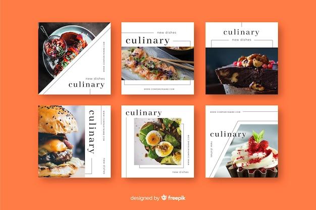 Collection de post culinaire instagram avec image Vecteur gratuit