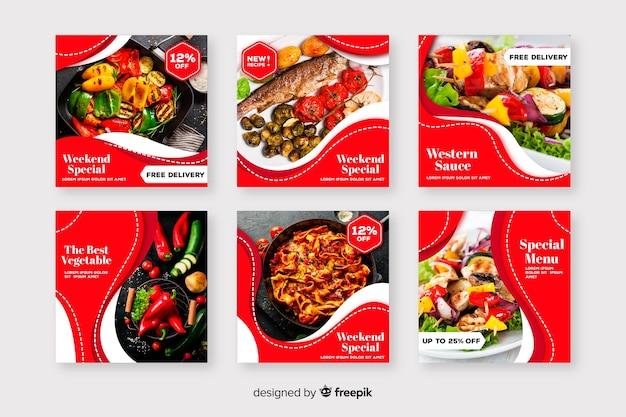 Collection De Post Culinaire Avec Photo Instagram Vecteur Premium