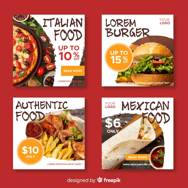 Collection de post culinaire avec photo instagram Vecteur gratuit