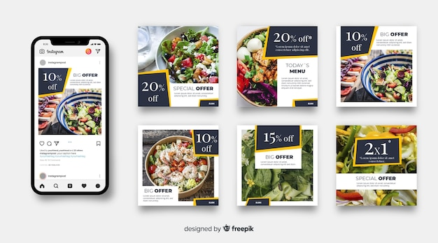 Collection de post culinaire avec photo instagram Vecteur gratuit