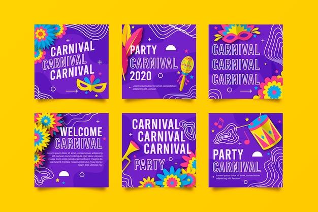 Collection De Post Instagram Carnival Party Vecteur gratuit