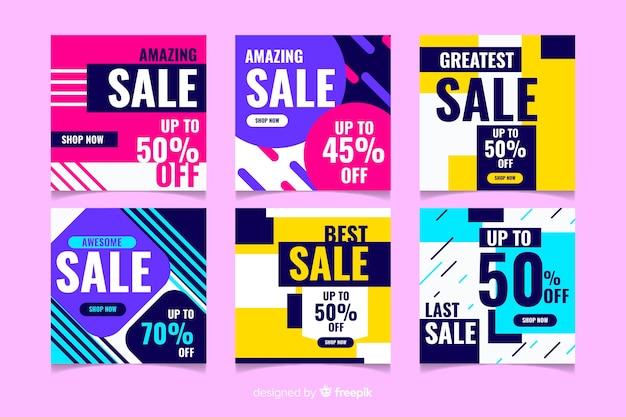 Collection de post instagram coloré vente abstraite Vecteur gratuit