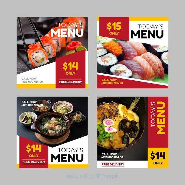 Collection de post instagram culinaire Vecteur gratuit