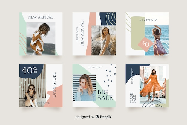 Collection de post instagram instagram Vecteur gratuit