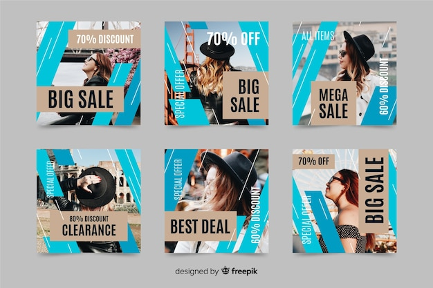 Collection de post instagram de mode en ventes Vecteur gratuit