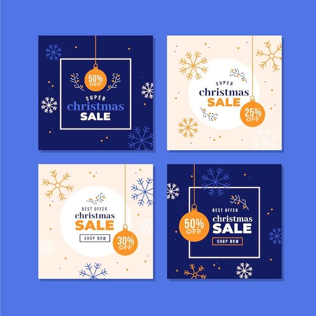 Collection de post instagram poste de vente colorée de noël Vecteur gratuit
