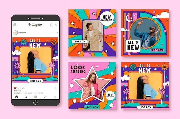 Collection De Post Instagram De Vente Groovy Dessinée à La Main Vecteur gratuit
