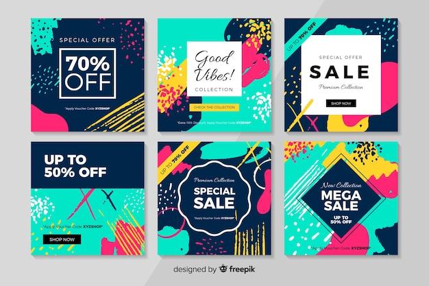 Collection de post de vente abstrait instagram Vecteur gratuit