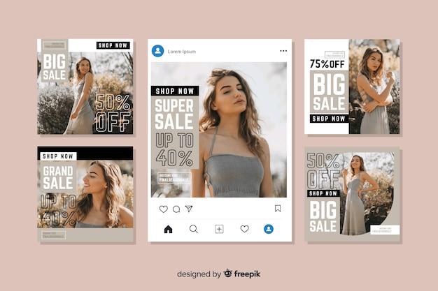 Collection de post de vente instagram Vecteur gratuit