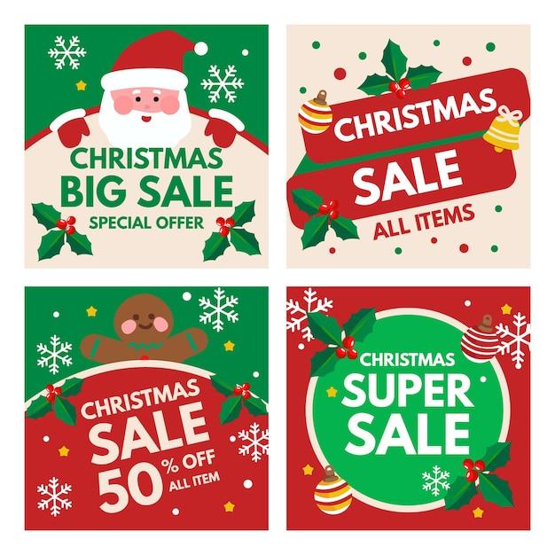 Collection De Post De Vente De Noël Instagram Vecteur gratuit