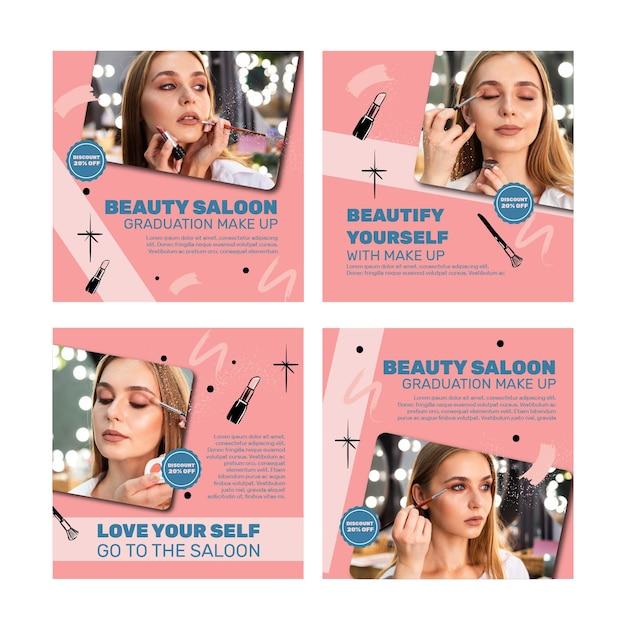 Collection De Posts Instagram De Salon De Beauté Vecteur Premium