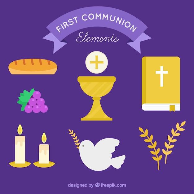 Collection De Première Communion En Conception Plate Vecteur gratuit