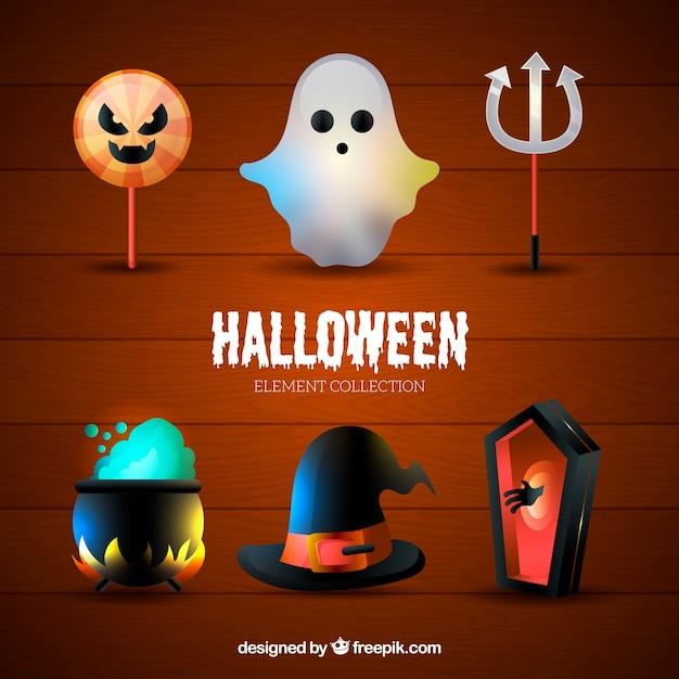 Collection des principaux attributs décoratifs de halloween Vecteur gratuit