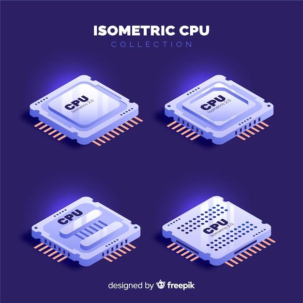 Collection de processeurs isométrique Vecteur gratuit
