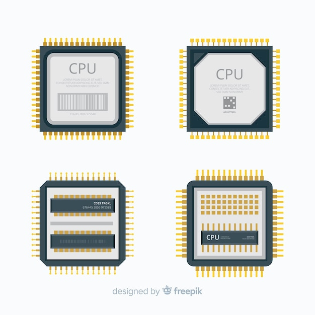 Collection de processeurs moderne avec design plat Vecteur gratuit