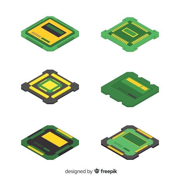 Collection de processeurs modernes avec vue isométrique Vecteur gratuit