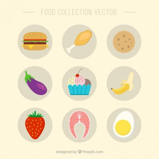Collection de produits alimentaires plats Vecteur gratuit