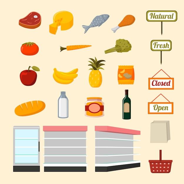 Collection De Produits Alimentaires De Supermarché Vecteur gratuit
