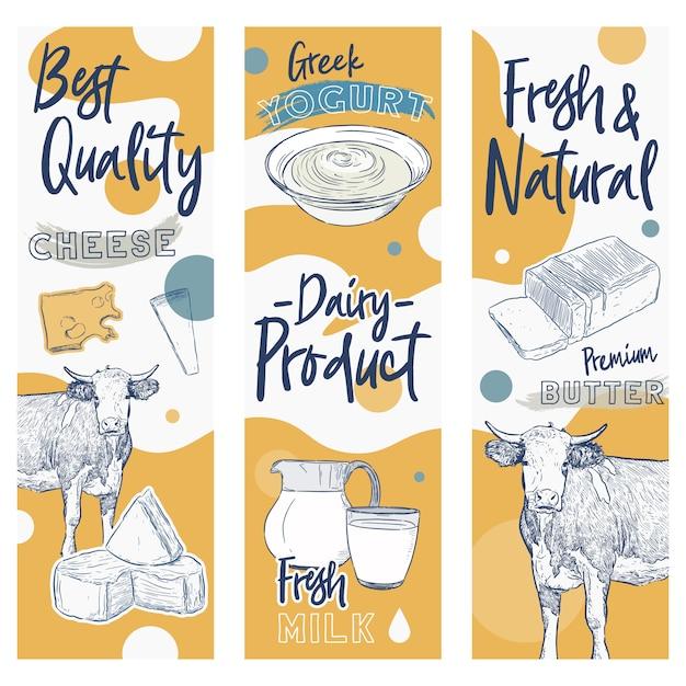 Collection de produits laitiers. vache, produits laitiers, fromage, beurre, crème sure, lait caillé, yaourt Vecteur Premium