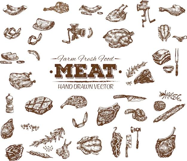 Collection de produits de viande dessinés à la main Vecteur Premium