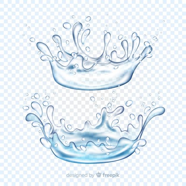 Collection de projections d'eau réalistes Vecteur gratuit