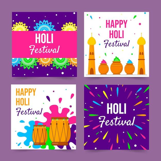 Collection De Publications Instagram Avec Le Concept Du Festival Holi Vecteur gratuit