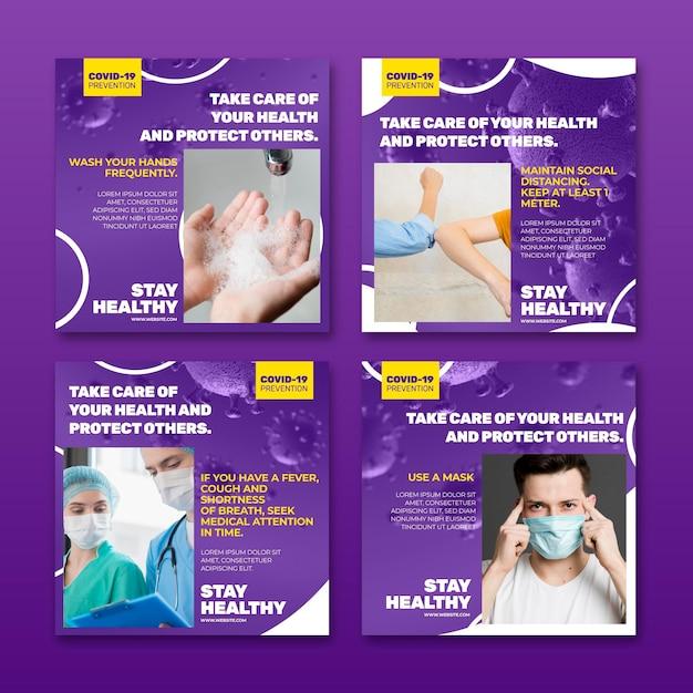 Collection De Publications Instagram Sur Le Coronavirus Vecteur gratuit