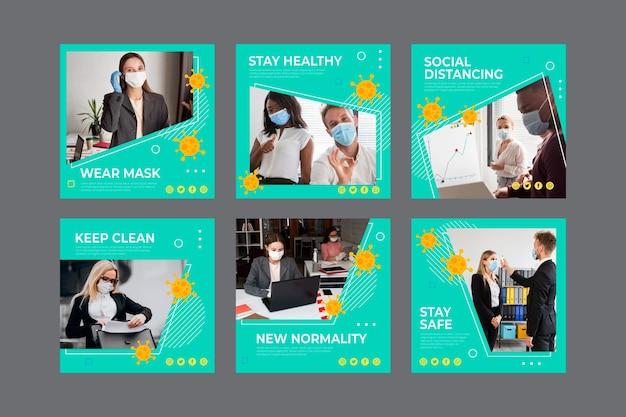 Collection De Publications Instagram Sur Le Coronavirus Vecteur Premium