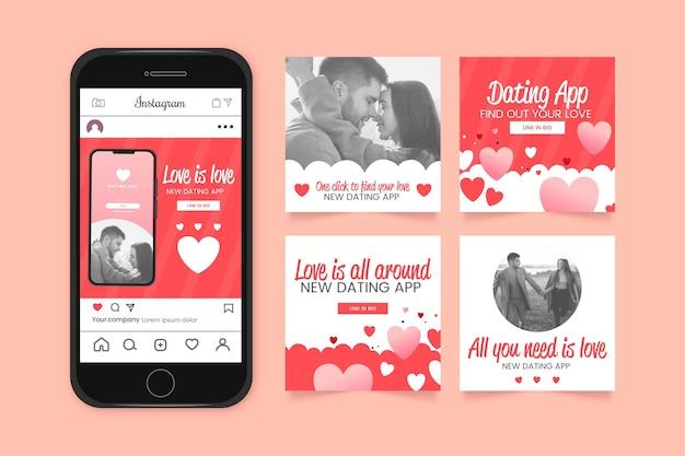 Collection De Publications Instagram Design Plat Vecteur gratuit