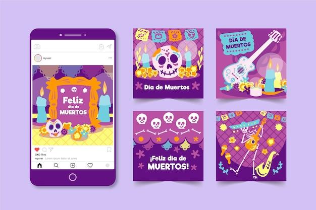 Collection De Publications Instagram Día De Muertos Vecteur gratuit