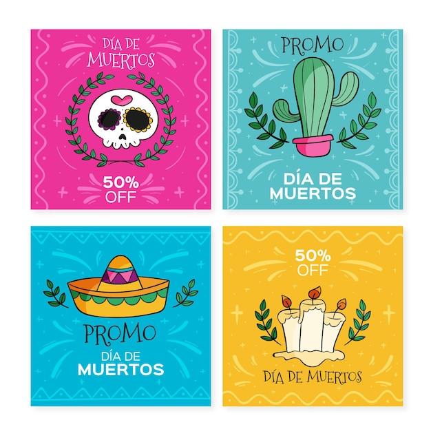 Collection De Publications Instagram De Dis De Muertos Vecteur Premium