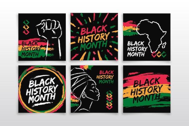 Collection De Publications Instagram Du Mois De L'histoire Des Noirs Dessinés à La Main Vecteur gratuit
