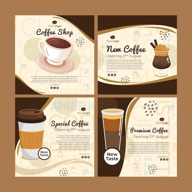 Collection De Publications Instagram Pour Café Vecteur gratuit