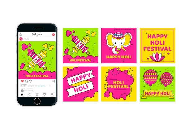 Collection De Publications Instagram Pour Le Festival De Holi Vecteur gratuit