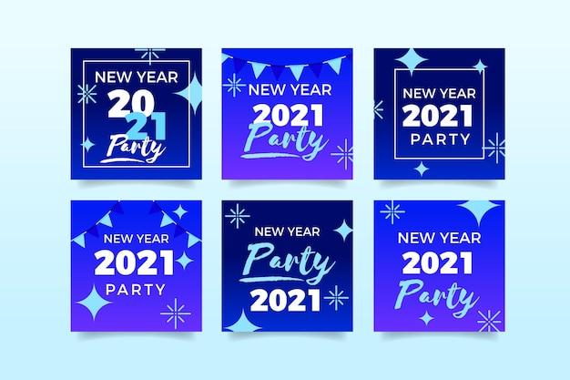 Collection De Publications Instagram Pour La Fête Du Nouvel An 2021 Vecteur gratuit