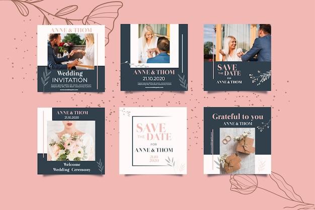Collection De Publications Instagram Pour Mariage Avec Des Fleurs Vecteur gratuit
