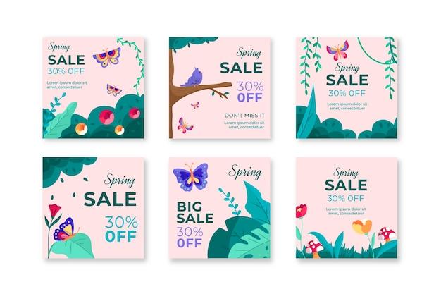 Collection De Publications Instagram Pour Les Soldes De Printemps Vecteur gratuit