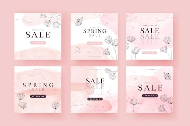 Collection De Publications Instagram De Soldes De Printemps Vecteur gratuit