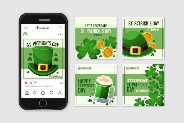 Collection De Publications Instagram Avec St. Patricks Day Vecteur gratuit