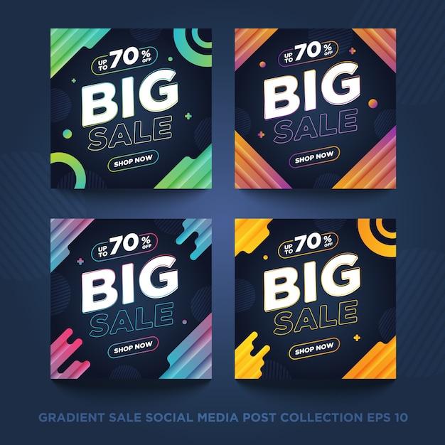 Collection De Publications Sur Les Médias Sociaux De Vente De Dégradé Vecteur Premium