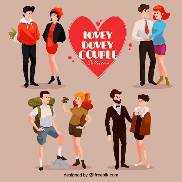 Collection de quatre couples heureux Vecteur gratuit